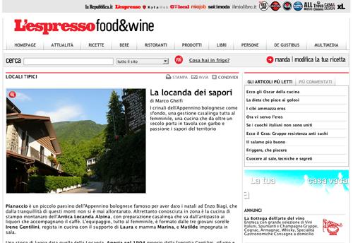 Antica Locanda Alpina - famiglia Gentilini - Pianaccio - Espresso - ricette